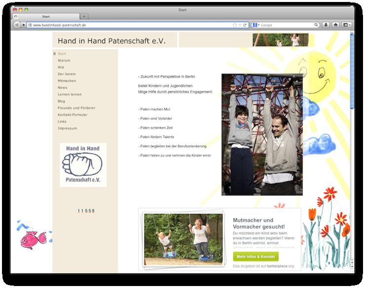 Webseite Hand in Hand Patenschaft e.V. mit integriertem Zeitspenden-Banner von betterplace.org